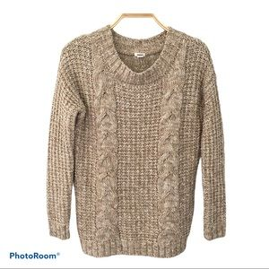 Garage Chunky crew neck Cable Knit Beige Sweater